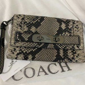 Authentic Coach Beechwood Python Embossed Leather